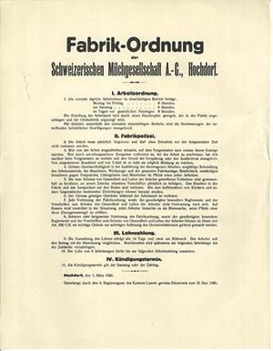 HOCHDORF legt seit Beginn Wert auf die Arbeits- sowie soziale Sicherheit ihrer Mitarbeitenden und gründete bereits in den 1920er-Jahren einen Wohlfahrtsfonds.