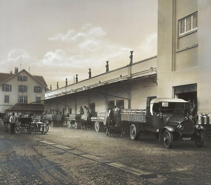 Milchannahme in Hochdorf in den 1920er-Jahren.